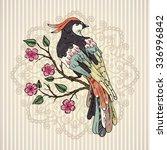 bird on a branch vector... | Shutterstock .eps vector #336996842
