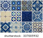 collage of different blue... | Shutterstock . vector #337005932