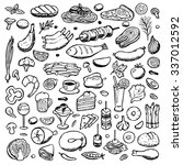 set hand drawn doodle food and... | Shutterstock . vector #337012592