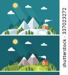 summer and winter landscape.... | Shutterstock .eps vector #337023272