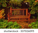 wood bench depiction | Shutterstock . vector #337026095
