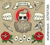 set of cool vector clip art on... | Shutterstock .eps vector #337037186