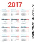 calendar for 2017 year on white ... | Shutterstock .eps vector #337041872