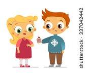 boy giving girl cupcake  vector ... | Shutterstock .eps vector #337042442