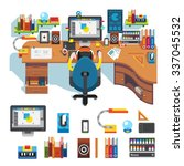workplace of design pro   table ...   Shutterstock .eps vector #337045532