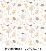 Forest seamless pattern with fox, bird, hedgehog, flowers and trees in childish cartoon style. Vector pattern can be used for wallpaper, pattern fills, web page background, textile print
