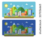 ecology city scenery concept in ... | Shutterstock . vector #337056665