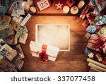 open empty christmas gift box... | Shutterstock . vector #337077458