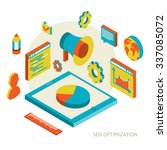 isometric background seo... | Shutterstock . vector #337085072