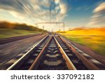 cargo train platform at sunset. ... | Shutterstock . vector #337092182