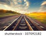 cargo train platform at sunset. ... | Shutterstock . vector #337092182