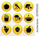 fruits and vegetables on yellow ... | Shutterstock .eps vector #337095242