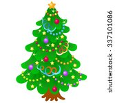 christmas tree with bright toys ... | Shutterstock .eps vector #337101086