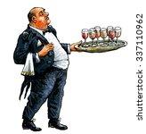 waiter with tray full of glasses | Shutterstock . vector #337110962
