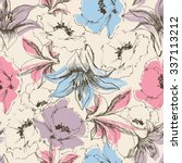 floral seamless pattern  lilies ... | Shutterstock .eps vector #337113212