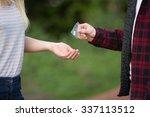 teenage girl buying drugs in... | Shutterstock . vector #337113512