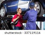 happy female customer looking... | Shutterstock . vector #337119116