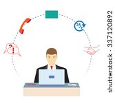 male  working in a call center. ... | Shutterstock .eps vector #337120892