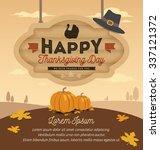 happy thanksgiving card design... | Shutterstock .eps vector #337121372