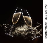 glasses of champagne with... | Shutterstock . vector #337121792