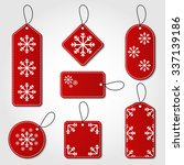 christmas tag collection in red ... | Shutterstock .eps vector #337139186