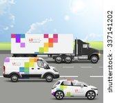 white transport advertising... | Shutterstock .eps vector #337141202