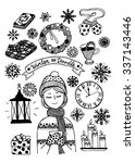 winter outline doodle set  ... | Shutterstock .eps vector #337143446