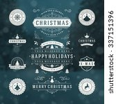 christmas decorations vector... | Shutterstock .eps vector #337151396