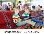 two tired little sibling kids... | Shutterstock . vector #337158542
