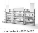 set of supermarket shelves with ... | Shutterstock . vector #337176026