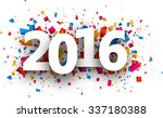2016 new year card with colour... | Shutterstock .eps vector #337180388