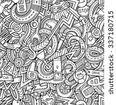Cartoon hand-drawn sketchy doodles on the subject of car style theme seamless pattern. Vector background - stock vector