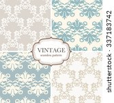 set of four seamless vintage... | Shutterstock .eps vector #337183742
