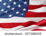 closeup of ruffled american flag | Shutterstock . vector #337188245