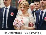 smiling elegant blonde bride... | Shutterstock . vector #337193456