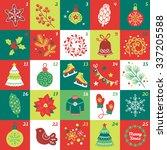 christmas advent calendar with...   Shutterstock .eps vector #337205588