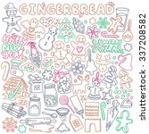 gingerbread doodles set.... | Shutterstock .eps vector #337208582