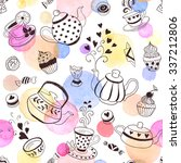 tea time seamless pattern. tea... | Shutterstock .eps vector #337212806