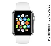 Small photo of Varna, Bulgaria - October 15, 2015: Apple Watch Sport 42mm Silver Aluminum Case with White Sport Band with homescreen on the display. Front view close up studio shot. Isolated on white background.