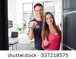 happy young couple at their new ... | Shutterstock . vector #337218575