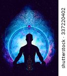 yoga cosmic space meditation ... | Shutterstock . vector #337220402