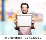 happy young man with retro frame | Shutterstock . vector #337230392