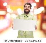 happy young man with placard | Shutterstock . vector #337234166