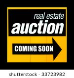 real estate auction sign with a ... | Shutterstock . vector #33723982
