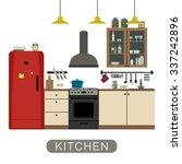 kitchen interior with furniture ... | Shutterstock .eps vector #337242896
