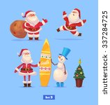 set of funny santa snowman and... | Shutterstock .eps vector #337284725