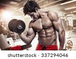 muscular bodybuilder guy doing... | Shutterstock . vector #337294046