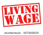 living wage red rubber stamp... | Shutterstock . vector #337303025