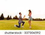 young man makes a proposal of... | Shutterstock . vector #337306592