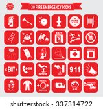 set of fire emergency icon or... | Shutterstock .eps vector #337314722